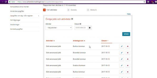 كيفية ارسال التقرير الشهري الى مكتب العمل في السويد aktivitetsrapport arbetsförmedlingen